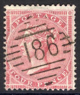 1857 Large Garter 4d rose carmine '186' Irish numeral of Dublin