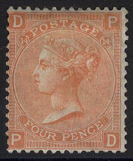 1865-67 Wmk Large Garter 4d vermilion Pl.14, fine M example
