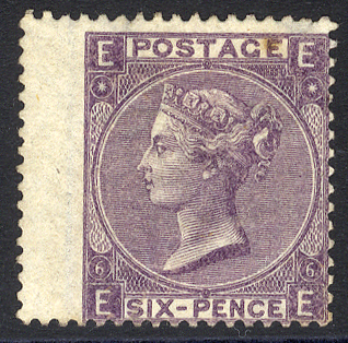 1865-67 Wmk Emblems 6d deep lilac Pl.6, fresh unused (re-gummed)
