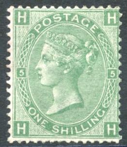 1867 Wmk Spray 1s green Pl.5, SG.117, Cat. £800 (as Mint)