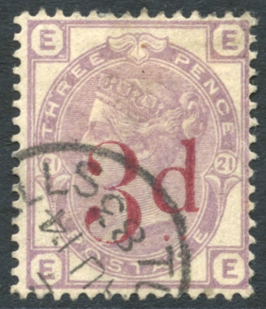 1880-83 3d on 3d lilac, SG.159, Cat. £160