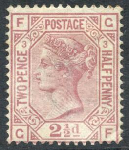 1873-80 Wmk Anchor 2½d rosy mauve Pl.3, SG.139, Cat. £1,000 (as Mint)