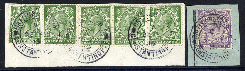 BRITISH POST OFFICES IN CONSTANTINOPLE 1919-20 ½d green (5) tied to a piece