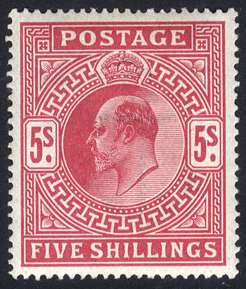 1912 Somerset House 5s carmine