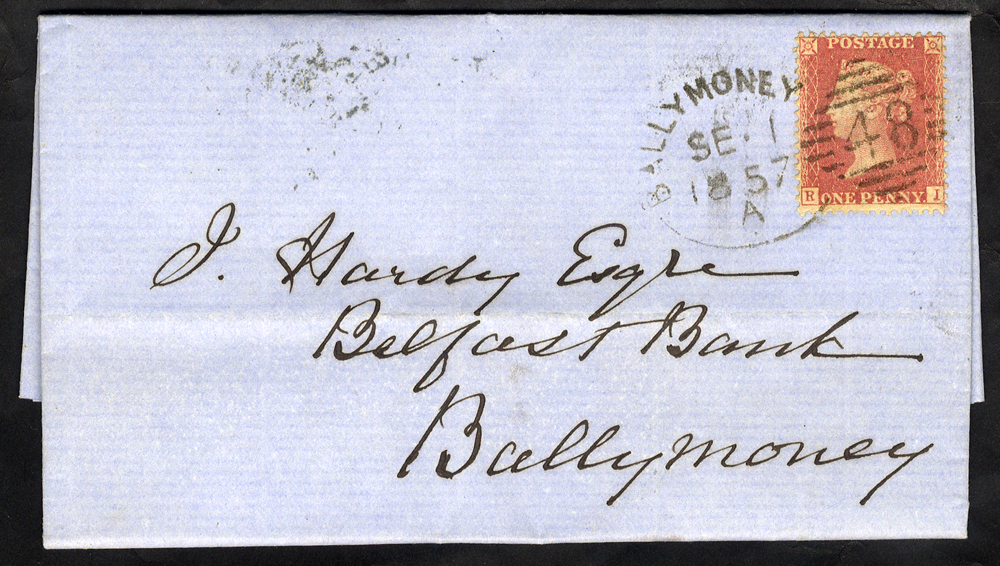 1857 local entire franked 1d Stars, tied by a 'Ballymoney 48' spoon