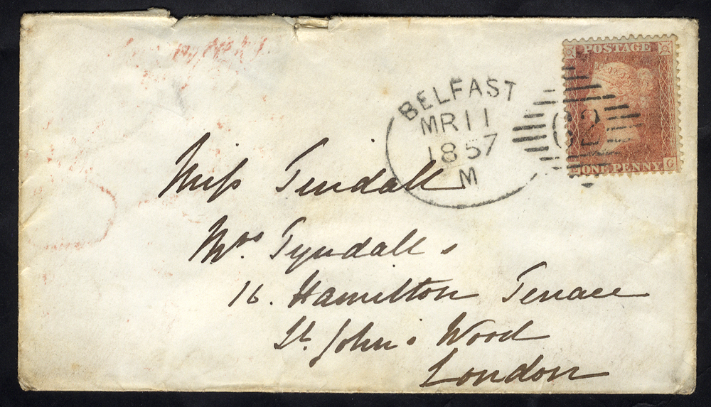 1857 envelope to London franked 1d Stars, tied by very fine 'Belfast 62' spoon