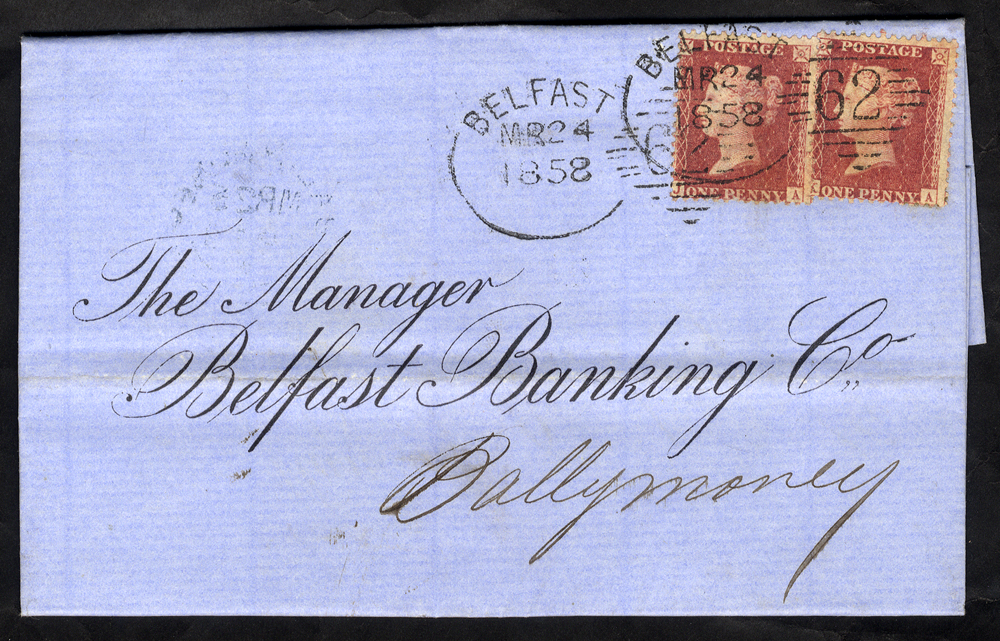 1858 cover to Ballymoney franked 1d Stars (2), tied by two strikes of the 'Belfast 62' spoon