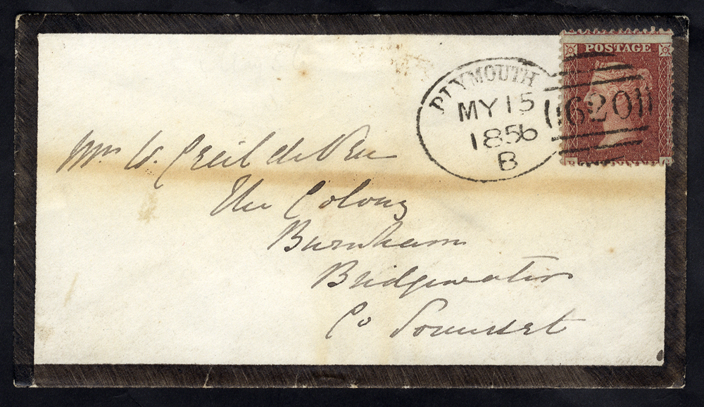 1856 mourning envelope to Bridgewater franked 1d Stars, tied 'Plymouth 620' spoon