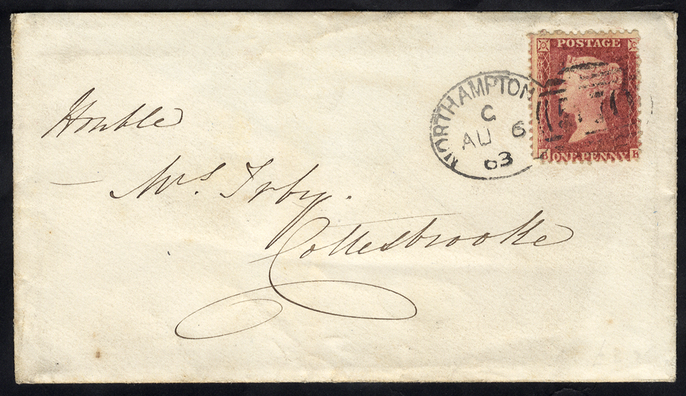 1863 envelope to Collesbrooke franked 1d Stars, tied by 'Northampton 570' spoon