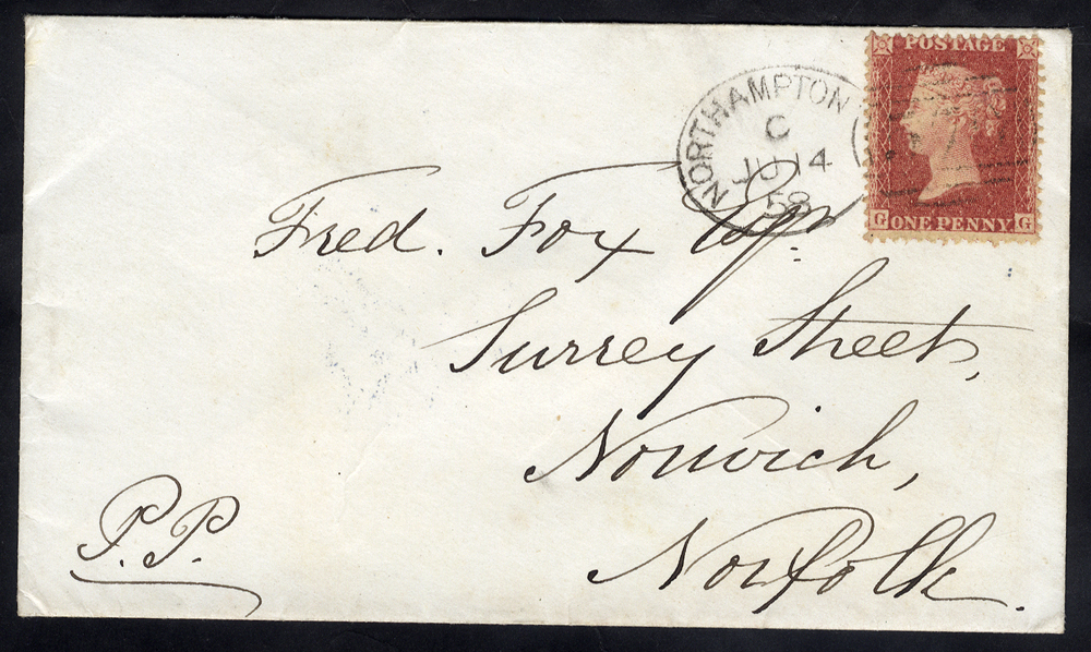 1858 envelope to Norfolk, franked 1d Stars, tied by fine 'Northampton 570' spoon