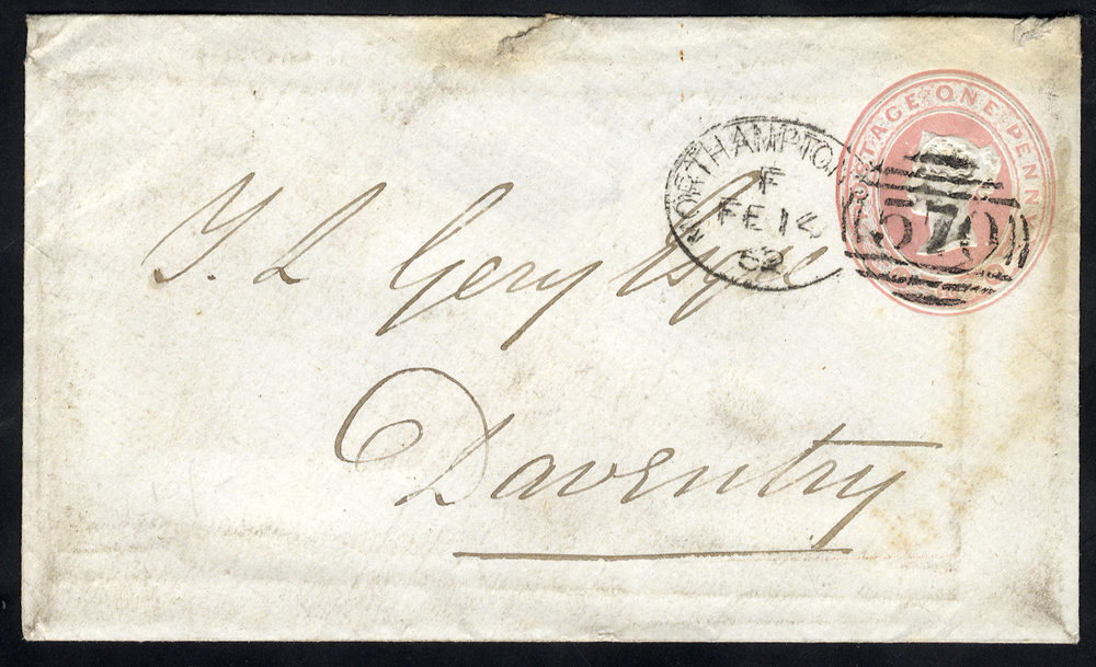 1868 One Penny pink stationery envelope to Dewsbury, cancelled by 'Northampton 570' spoon