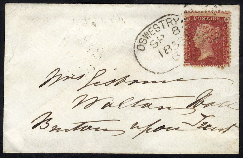 1858 envelope to Burton upon Trent franked 1d Stars, tied by fine 'Oswestry 595' spoon