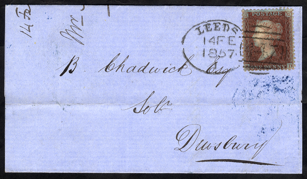 1857 cover to Dewsbury, franked 1d Stars, tied by fine 'Leeds 447' spoon
