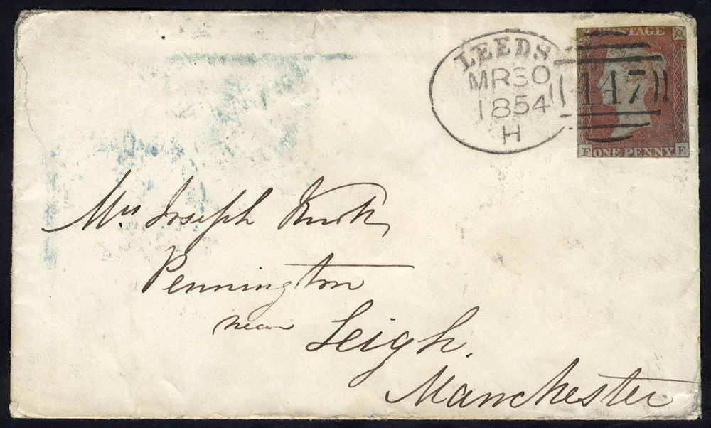1854 envelope from Leeds to Manchester franked 1841 1d red (cut close), tied fine 'Leeds 447' spoon