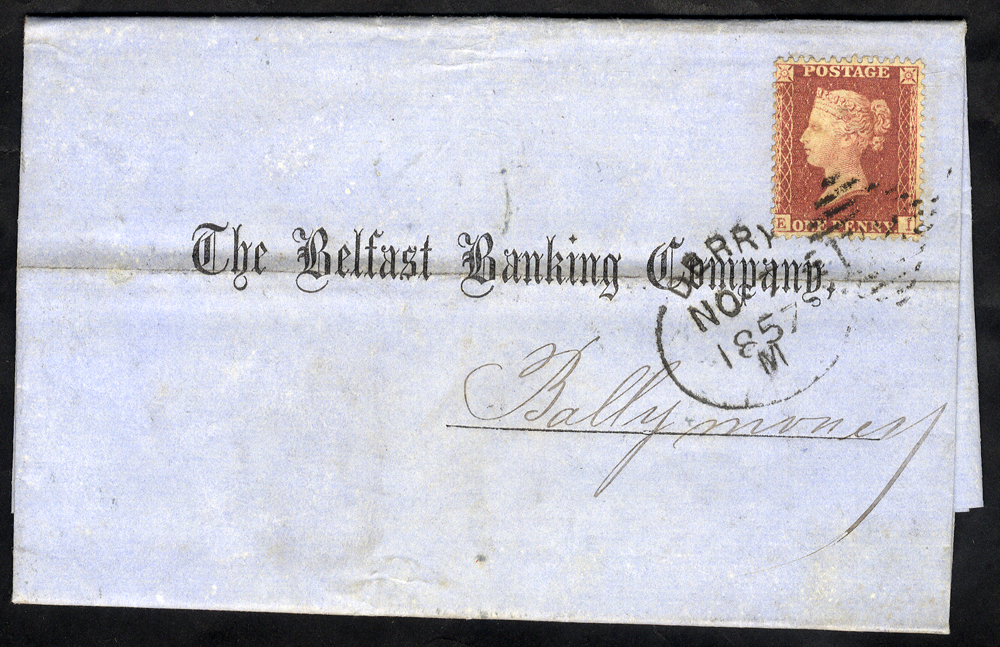 1857 cover to Ballmoney franked 1d Stars, tied by 'Derry 172' spoon