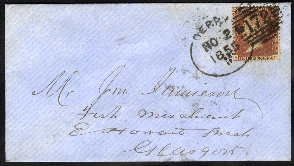 1855 envelope to Glasgow franked 1d Stars, tied by 'Derry 172' spoon