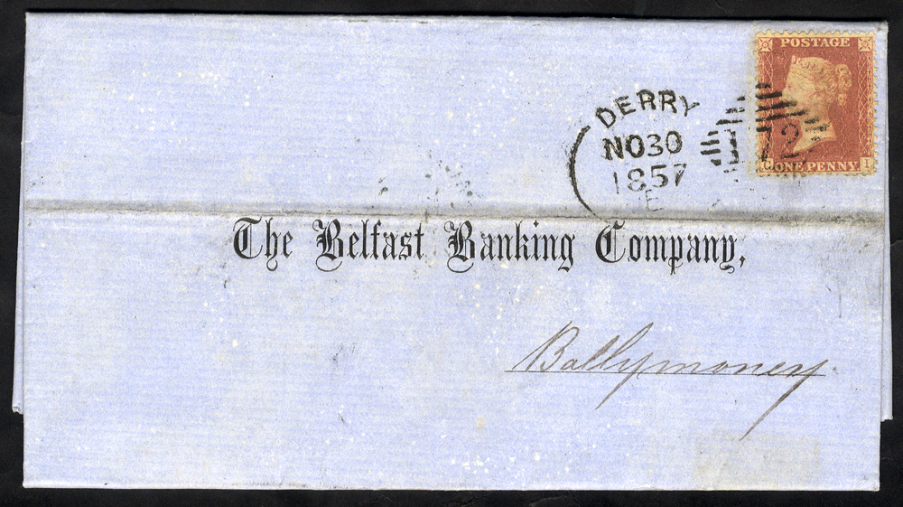 1857 cover to Ballymoney franked 1d Stars, tied by 'Derry 172' spoon