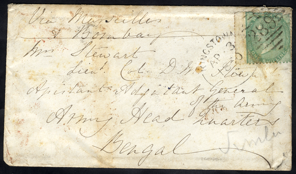 1860 envelope to Bengal, endorsed 'Via Marseilles & Bombay' franked 1s green, tied by a 'Kingston 289' spoon
