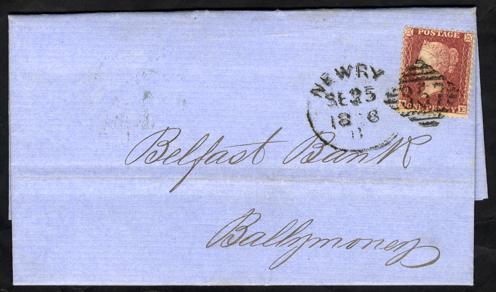 1856 cover to Ballymoney franked 1d Stars, tied by 'Newry 357' spoon