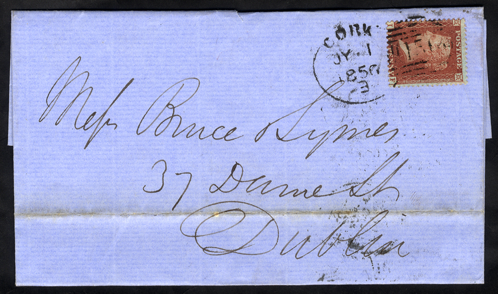 1856 cover to Dublin franked 1d Stars, tied 'Cork 150' spoon