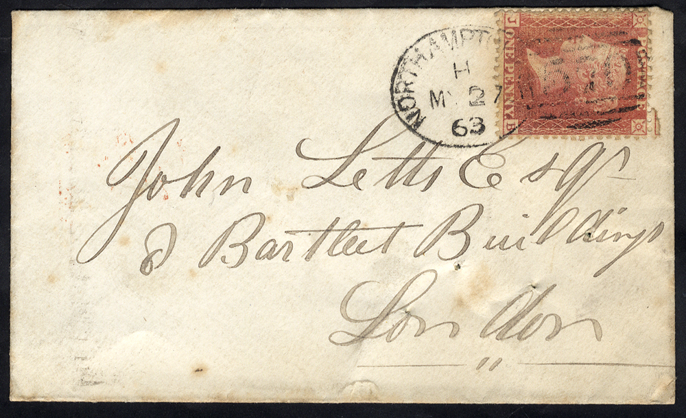 1863 envelope to London franked 1d Stars, tied by a 'Northampton 570' spoon