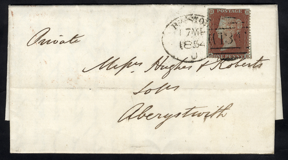 1854 cover to Aberystwyth franked 1d Stars (trimmed in places), tied by a 'Bristol 134' spoon