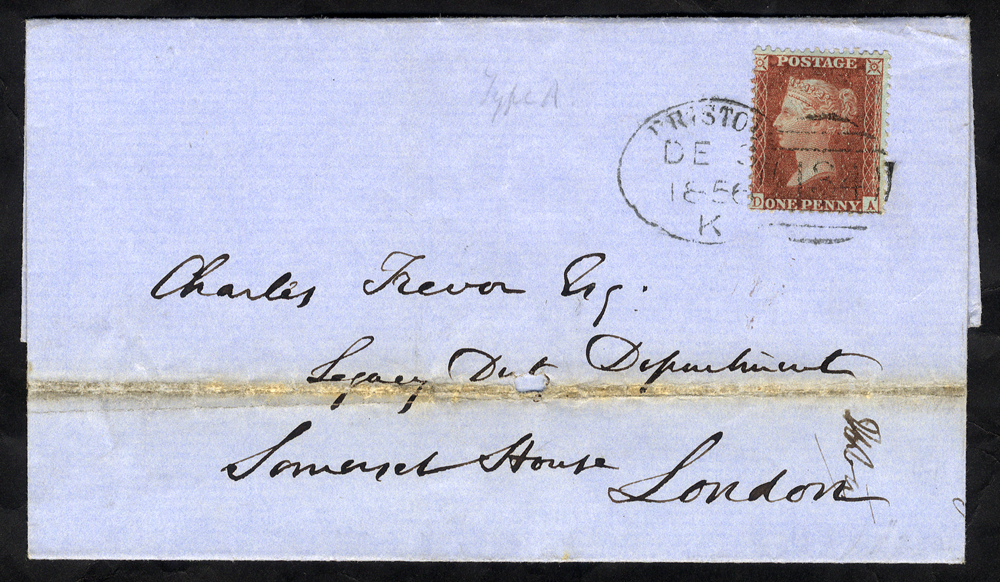 1856 cover to London, franked 1d Stars, tied by a 'Bristol 134' spoon