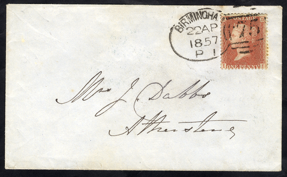 1867 local envelope franked 1d Stars, tied by a 'Birmingham 75' spoon