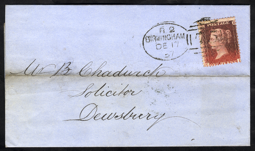 1857 cover to Dewsbury franked 1d Stars, tied by 'Birmingham 75' spoon