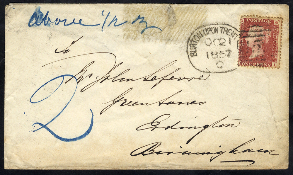 1857 envelope to Birmingham franked 1d Stars, tied by a 'Burton Upon Trent 152' spoon