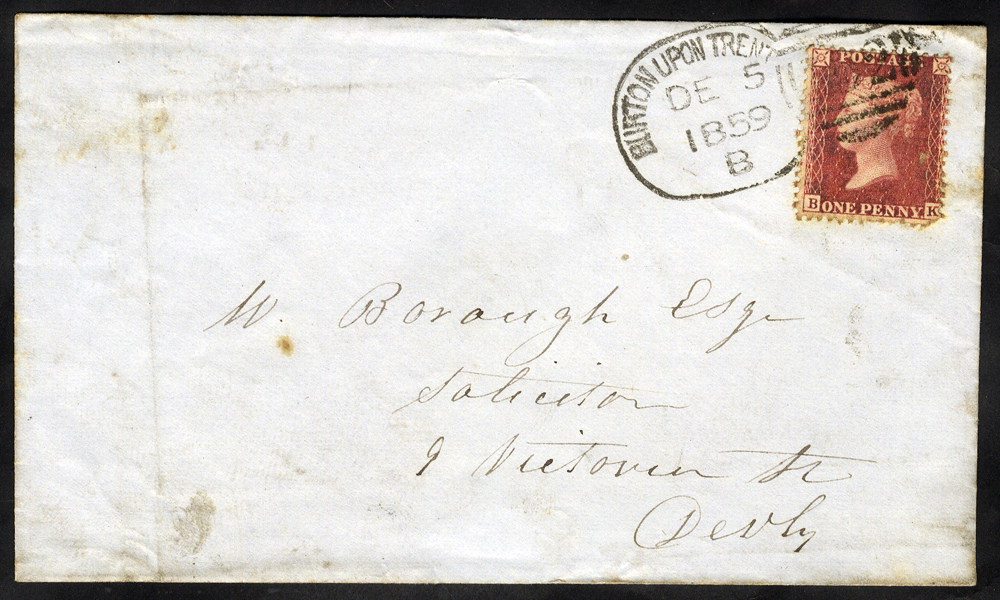1859 envelope to Derby franked 1d stars, tied 'Burton Upon Trent 152' spoon
