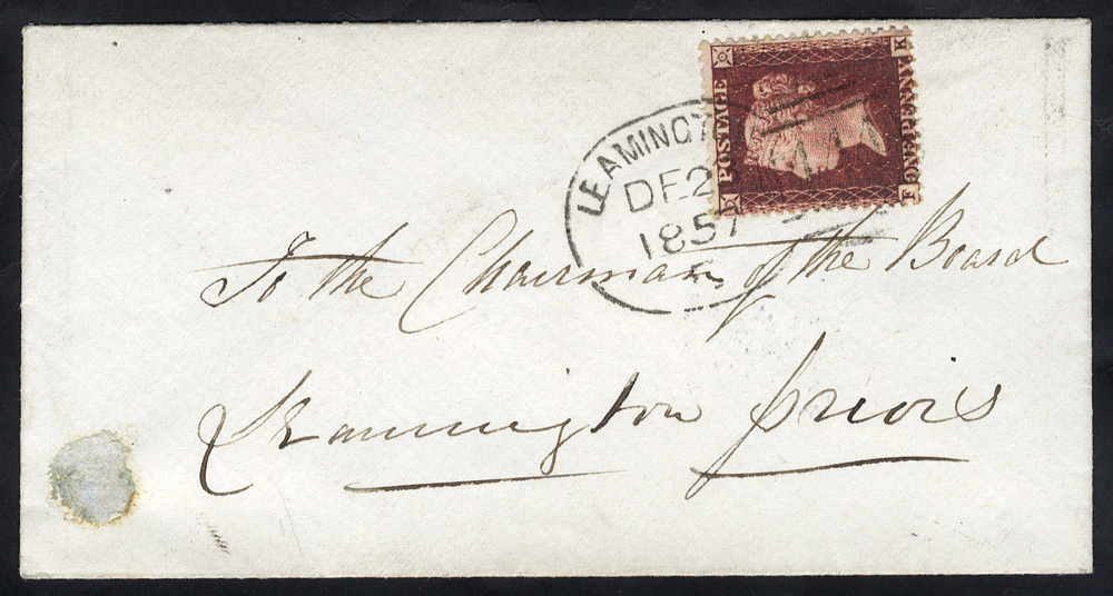 1857 envelope used locally franked 1d Stars, tied fine 'Leamington 444' spoon