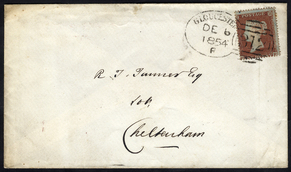 1854 envelope to Cheltenham franked 1d Stars, tied by a fine 'Gloucester 312' spoon