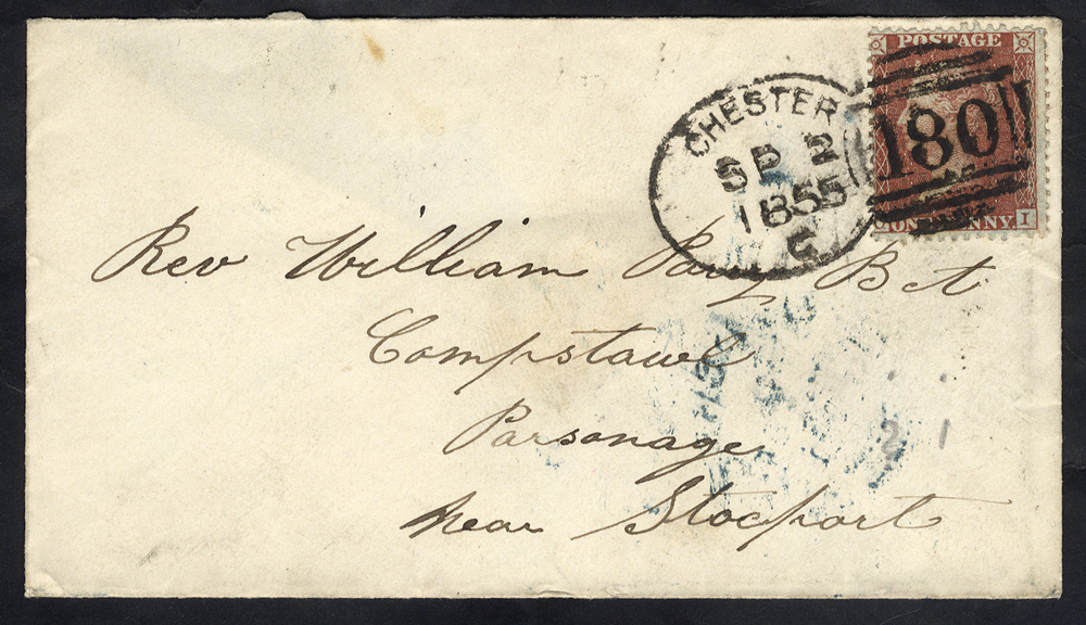 1855 envelope to Stockport franked 1d Stars, tied 'Chester 180' spoon