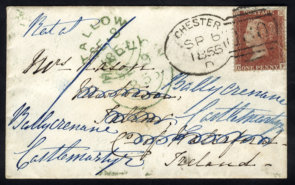 1855 envelope to Ireland franked 1d Stars, tied with a 'Chester 180' spoon