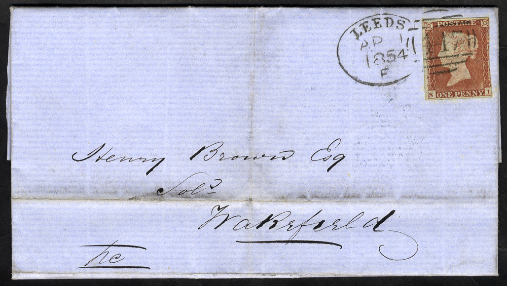 1854 cover to Wakefield franked 1841 1d Imperf (three margins), tied by a fine 'Leeds 447' spoon