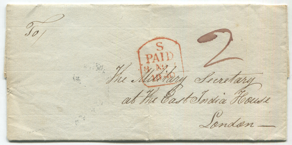 1840 cover Jersey to London, manuscript '2' and London tombstone 'S/PAID 8.NOV/1840'