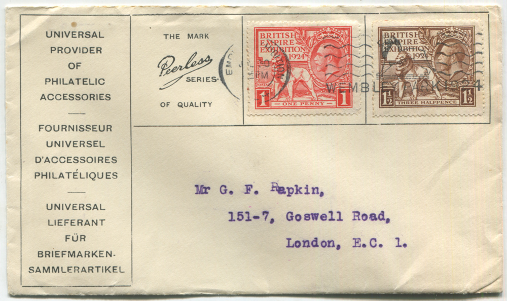 1924 Wembley set on a printed envelope, advertising philatelic accessories in three languages