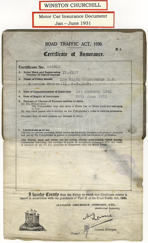 CHURCHILL, WINSTON (British Primeminister & Statesman) motor car insurance document (MEMORABILIA - NOT SIGNED)