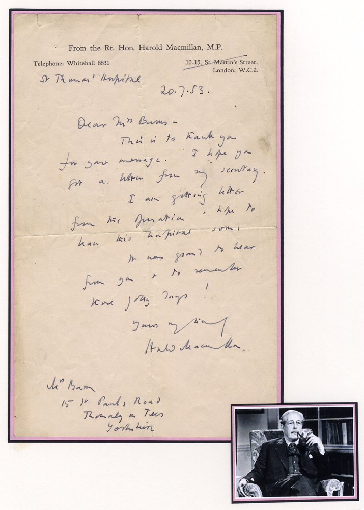 MACMILLAN, HAROLD 1894-1996 (British Primeminister & Statesman) thank you letter in his own hand & signed