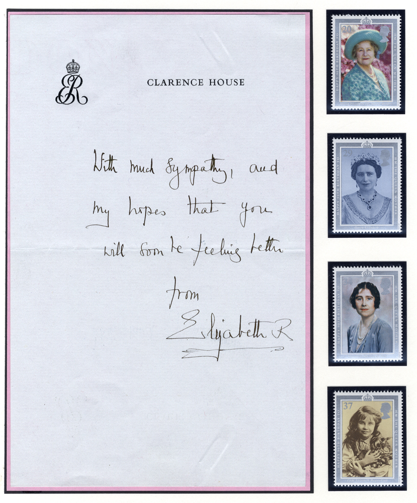 ELIZABETH - QUEEN MOTHER 1900-2002 letter on Clarence House headed note paper & signed
