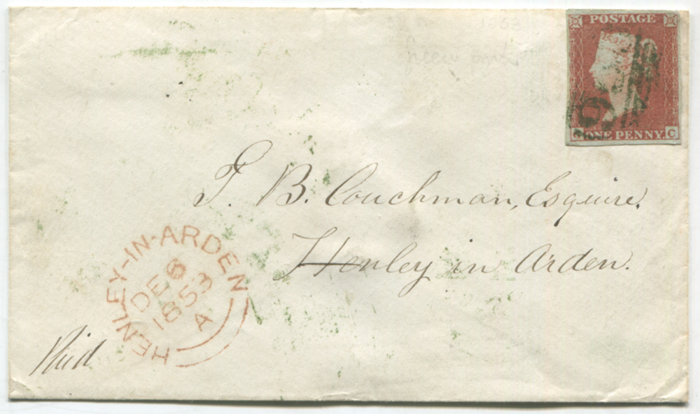 1853 envelope from Birmingham to Henley in Arden, 1841 1d red-brown, barred oval numeral '950' of Kenilworth in GREEN