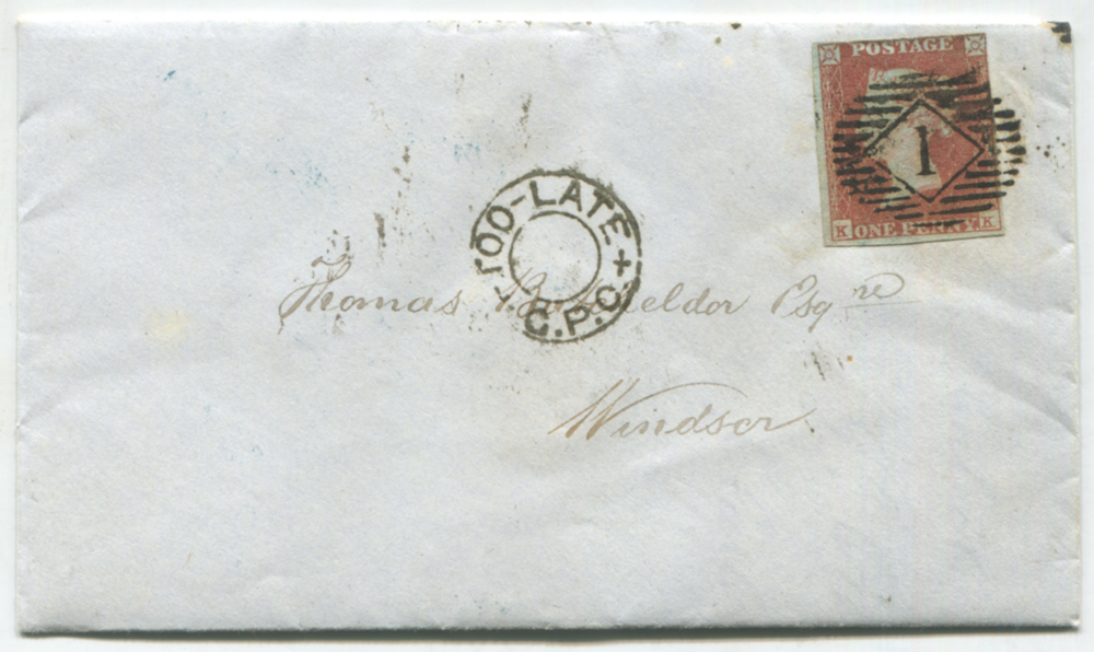 1849 envelope with contents, Cheapside to Windsor, 1841 1d red Plate 90, barred oval numeral '1' London district Highgate