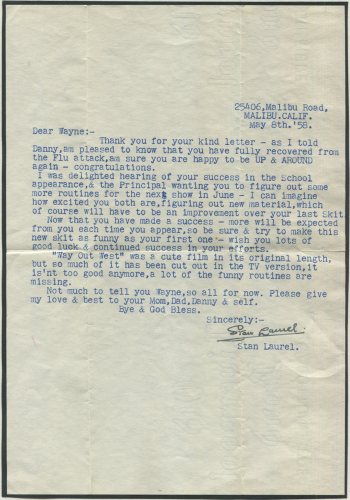 LAUREL, STAN (1890-1965) signed typed letter to his friend Mr Wayne Capra in New Jersey with original envelope from Stan's Malibu residence