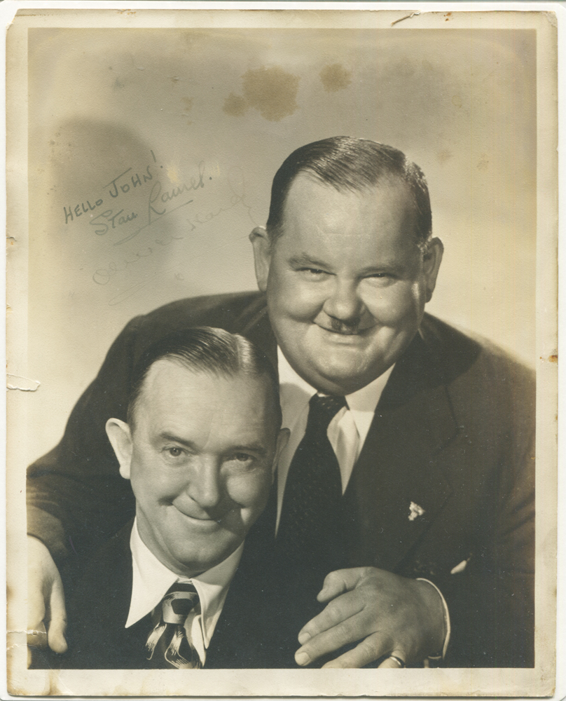 LAUREL & HARDY (British & American film comedians) typed letter to J. W. Hoggett of Gateshead, signed 'Stan Laurel' plus photograph signed by them both.