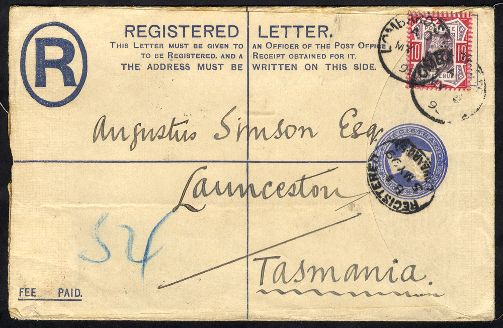 1899 reg envelope to Launceston, Tasmania, 10d Jubilee, Lombard St, London c.d.s's