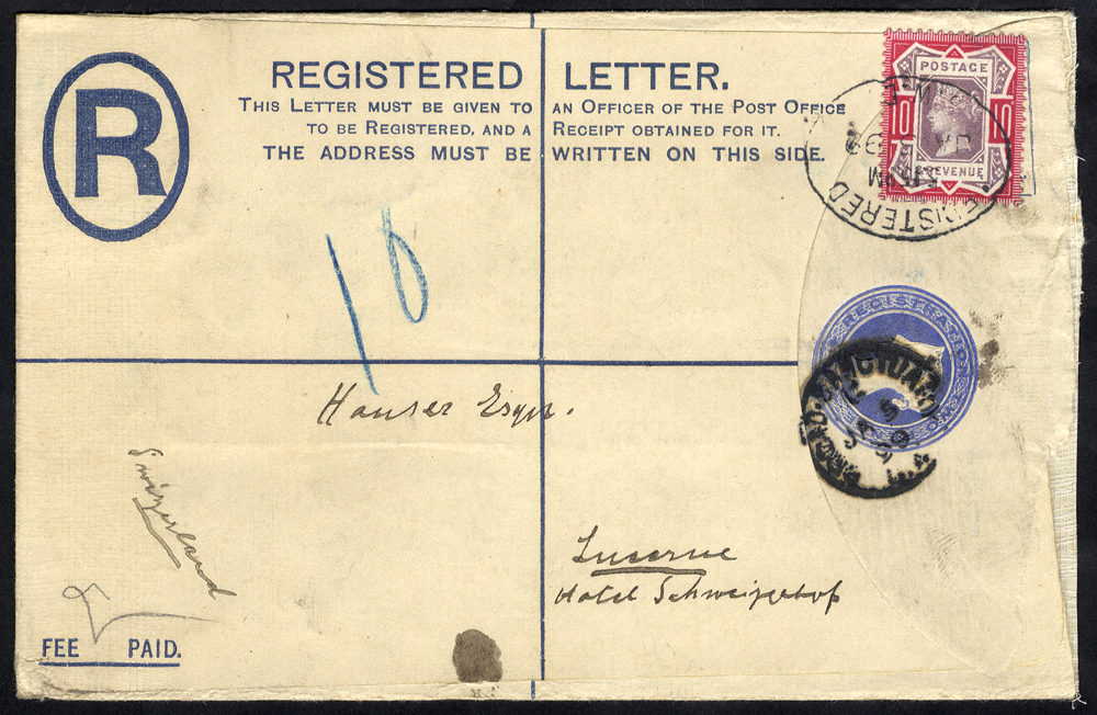 1899 registered cover to Lucerne, Switzerland, franked 10d Jubilee