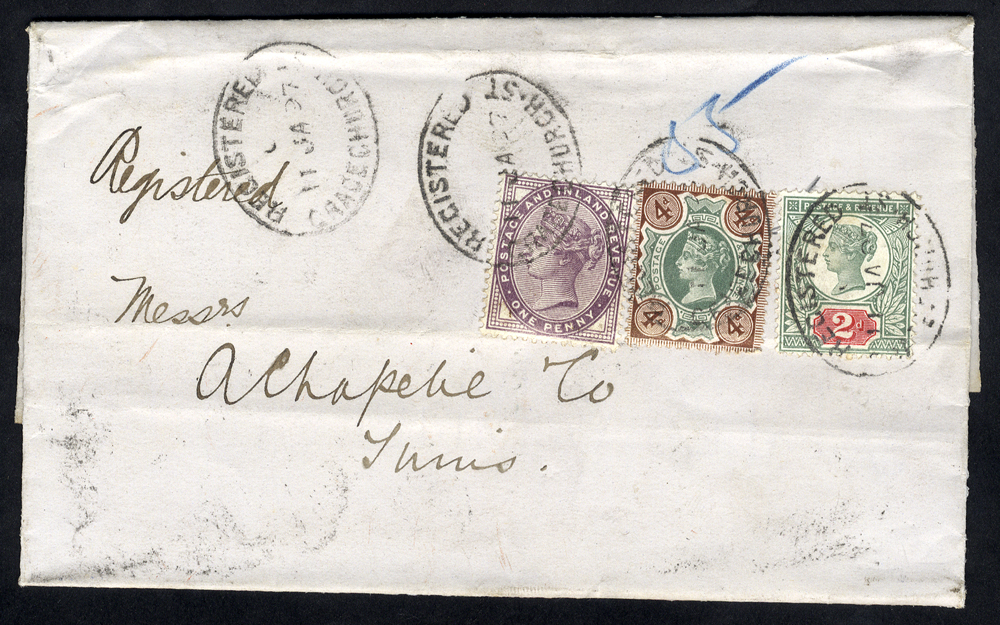 1897 cover London to Tunis, 1d lilac, 2d & 4d Jubilee, Gracechurch St oval d/stamps