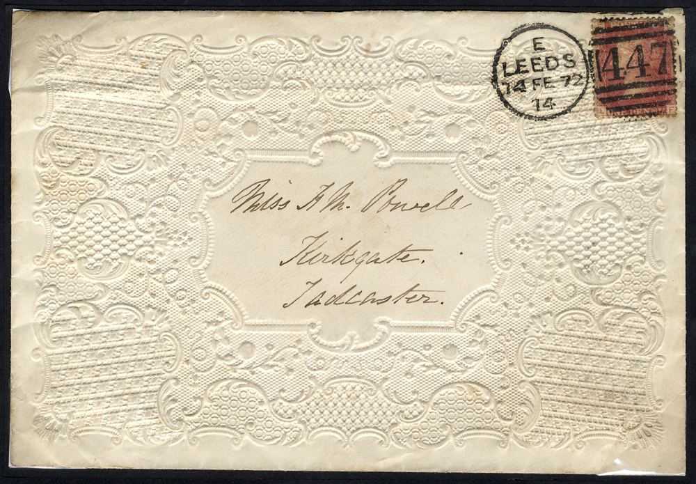 1874 attractive embossed Valentine envelope from Leeds to Tadcaster
