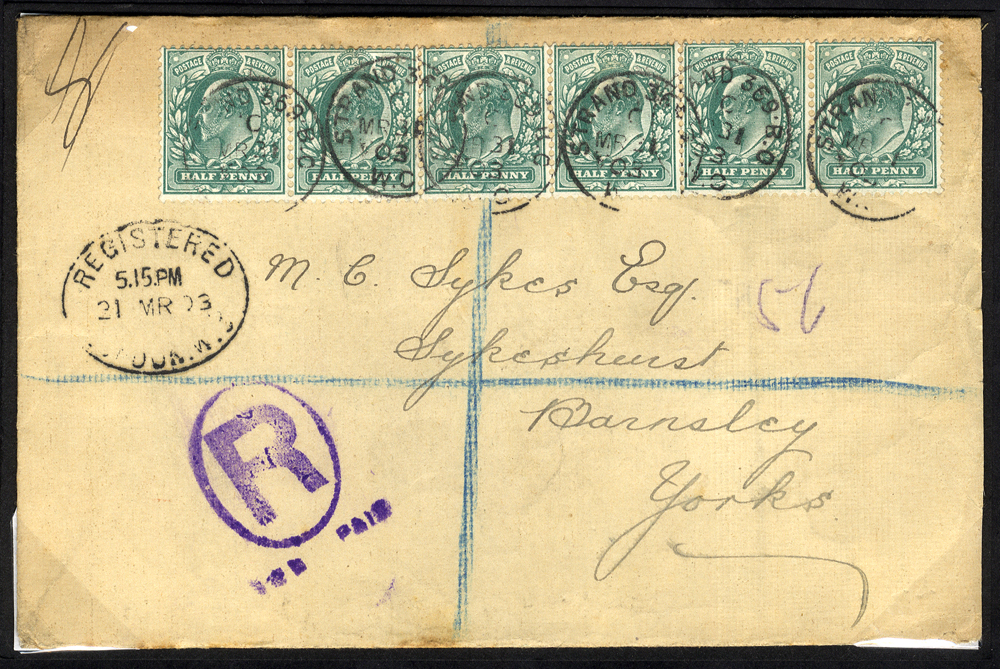 1903 registered envelope from London to Barnsley, KEVII ½d blue-green strip of six